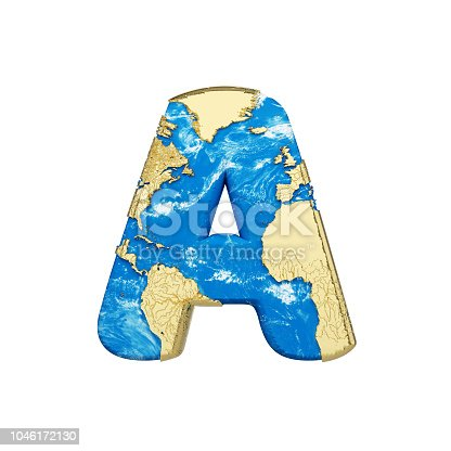 istock World earth globe alphabet letter A uppercase. Global worldwide font with NASA map. 3D render isolated on white background. 1046172130