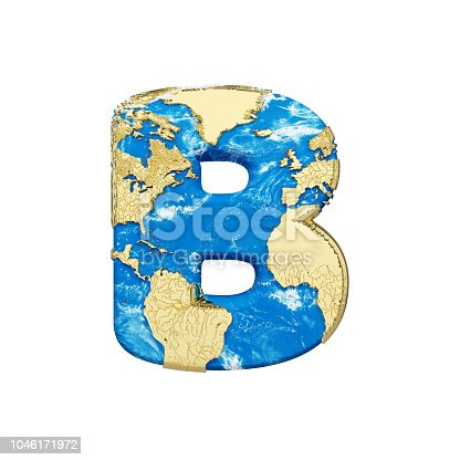 istock World earth globe alphabet letter B uppercase. Global worldwide font with NASA map. 3D render isolated on white background. 1046171972