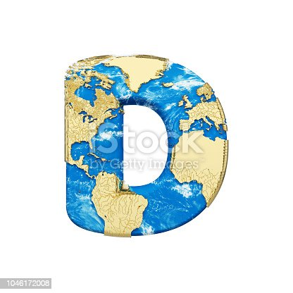 istock World earth globe alphabet letter D uppercase. Global worldwide font with NASA map. 3D render isolated on white background. 1046172008