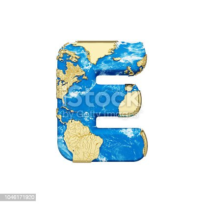 istock World earth globe alphabet letter E uppercase. Global worldwide font with NASA map. 3D render isolated on white background. 1046171920