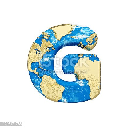 istock World earth globe alphabet letter G uppercase. Global worldwide font with NASA map. 3D render isolated on white background. 1046171786