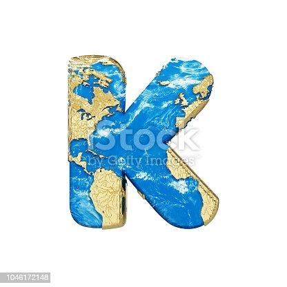 istock World earth globe alphabet letter K uppercase. Global worldwide font with NASA map. 3D render isolated on white background. 1046172148