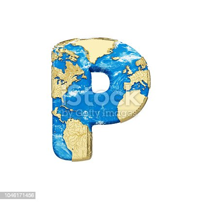 istock World earth globe alphabet letter P uppercase. Global worldwide font with NASA map. 3D render isolated on white background. 1046171456