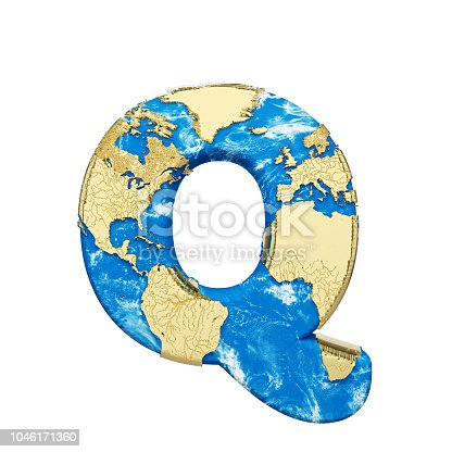 istock World earth globe alphabet letter Q uppercase. Global worldwide font with NASA map. 3D render isolated on white background. 1046171360