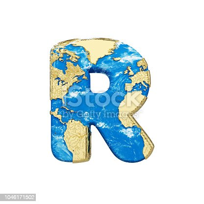 istock World earth globe alphabet letter R uppercase. Global worldwide font with NASA map. 3D render isolated on white background. 1046171502