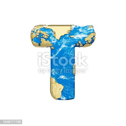 istock World earth globe alphabet letter T uppercase. Global worldwide font with NASA map. 3D render isolated on white background. 1046171192