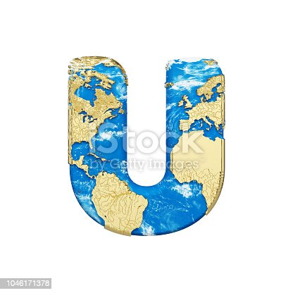 istock World earth globe alphabet letter U uppercase. Global worldwide font with NASA map. 3D render isolated on white background. 1046171378