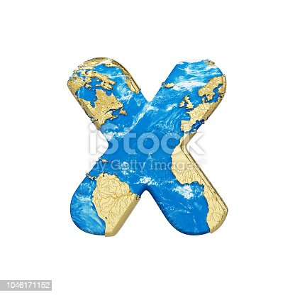 istock World earth globe alphabet letter X uppercase. Global worldwide font with NASA map. 3D render isolated on white background. 1046171152