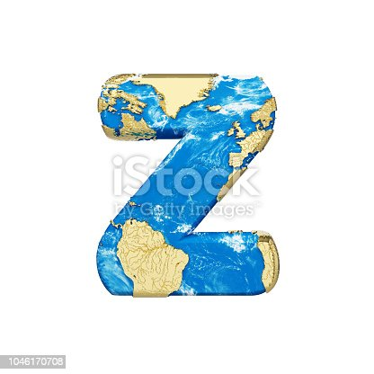 istock World earth globe alphabet letter Z uppercase. Global worldwide font with NASA map. 3D render isolated on white background. 1046170708
