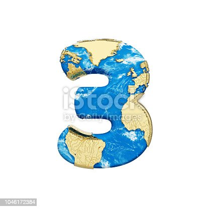 istock World earth globe alphabet number 3. Global worldwide font with NASA map. 3D render isolated on white background. 1046172384