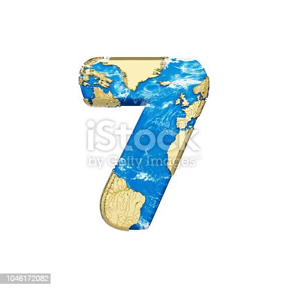 istock World earth globe alphabet number 7. Global worldwide font with NASA map. 3D render isolated on white background. 1046172082