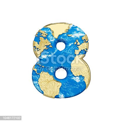 istock World earth globe alphabet number 8. Global worldwide font with NASA map. 3D render isolated on white background. 1046172102