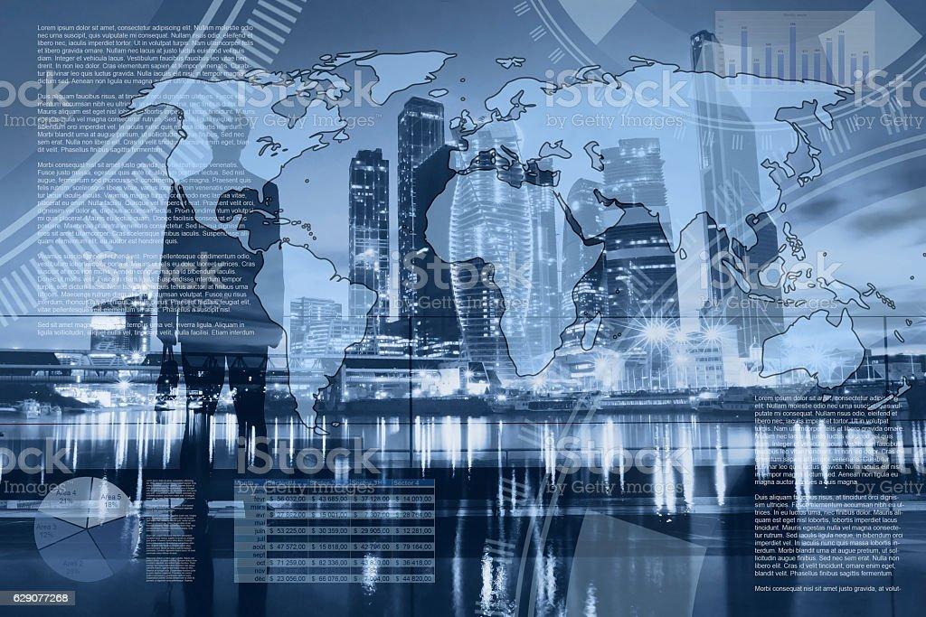 world economics and global trading, abstract infographics stock photo