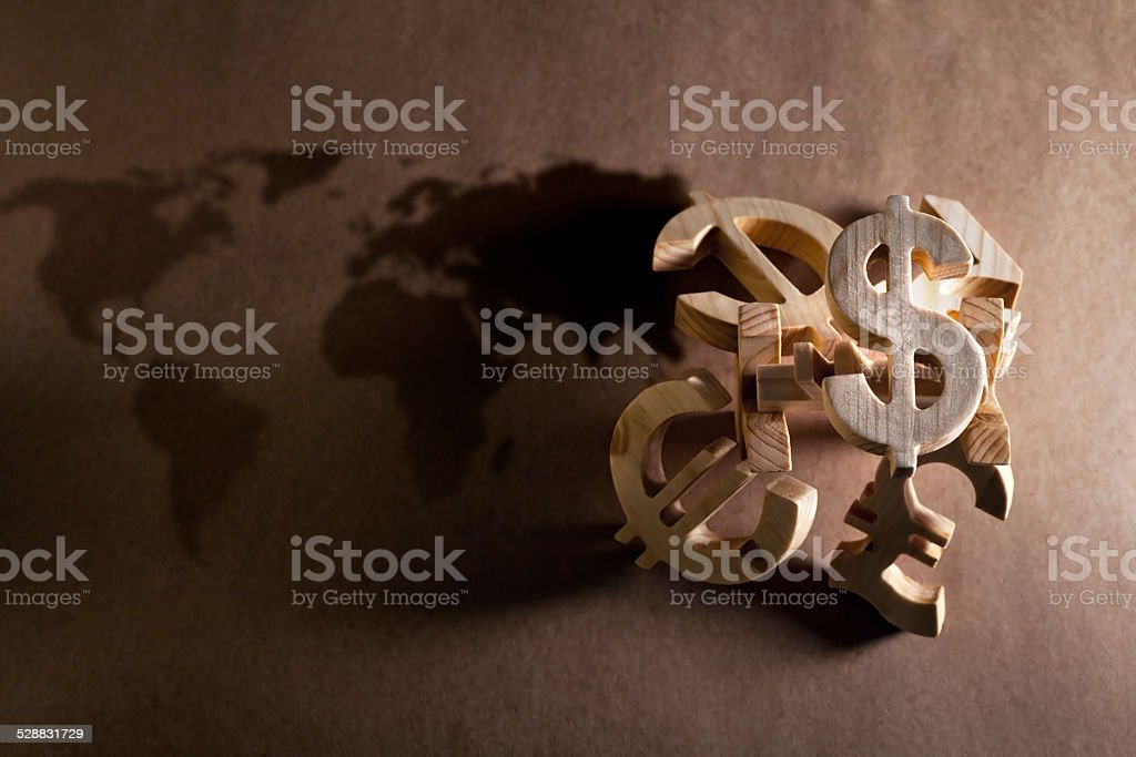 World economy and currency units stock photo