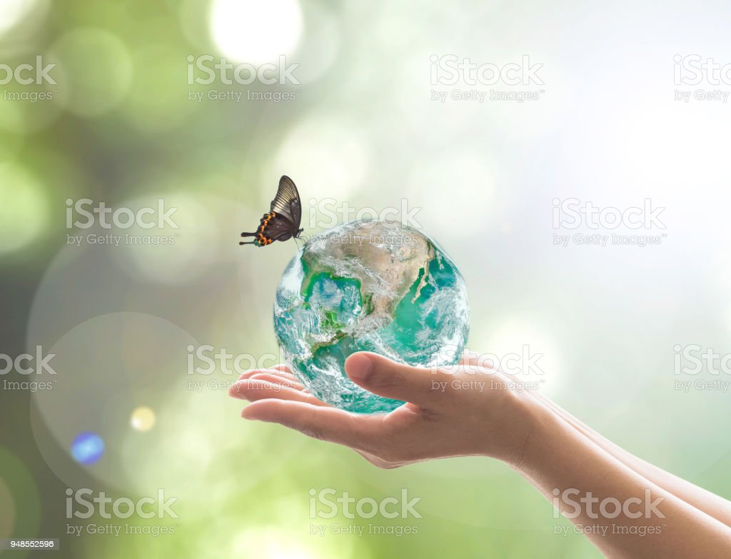 Día Mundial del medio ambiente y concepto amable respetuoso del medio ambiente con la verde tierra en manos de los voluntarios. Elemento de imagen proporcionada por la NASA - foto de stock