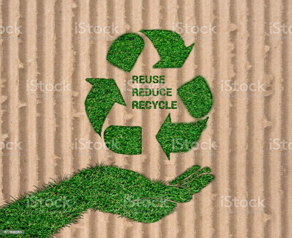 World Environment Day. let's save the world.ecology concept, Reuse, Reduce, Recycle concept on paper craft die cut. Eco design - Green and Sustainable, vector grass blurred background . royalty-free stock photo