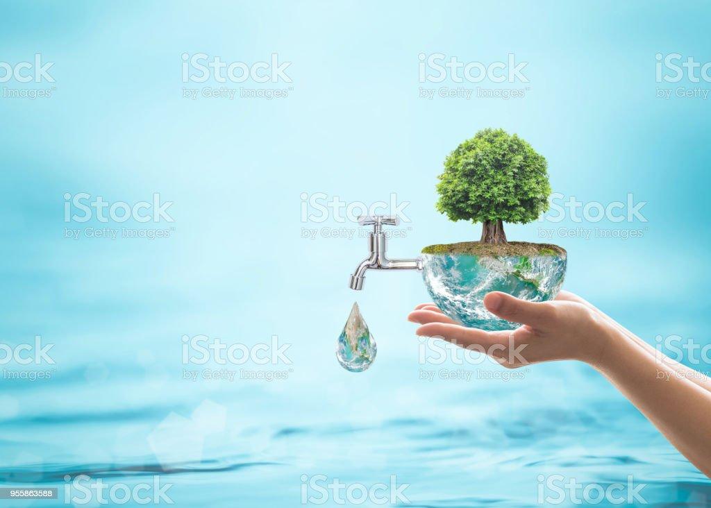 Concepto de ecología ambiental mundial con Selva árbol plantar en globo verde con grifo de agua. Elemento de la imagen proporcionada por la NASA - foto de stock