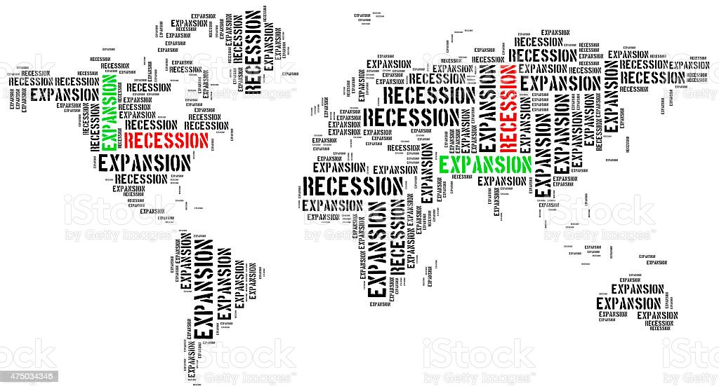 World expansion and recession. stock photo