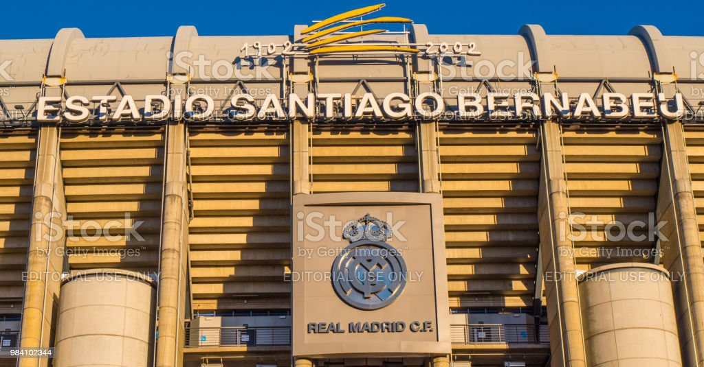 World Famous Bernabeu Stadium The Home Of Real Madrid Soccer Football Club  Madrid Spain February 20 2018 Stock Photo - Download Image Now