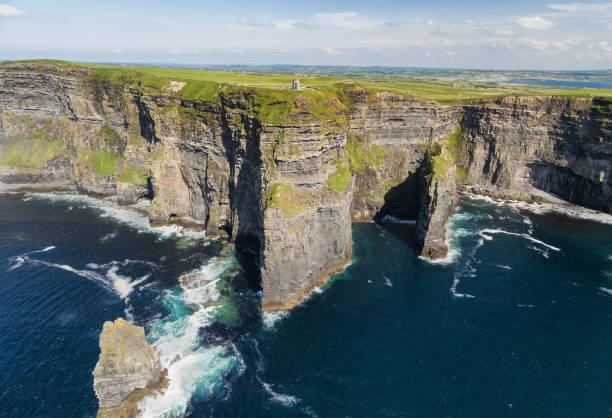 world famous birds eye aerial view of the cliffs of moher, county clare, ireland - cliffs of moher stock pictures, royalty-free photos & images