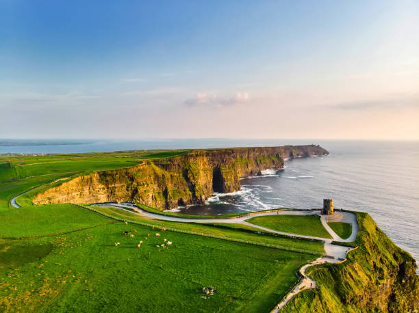 World famous Cliffs of Moher, one of the most popular tourist destinations in Ireland. stock photo