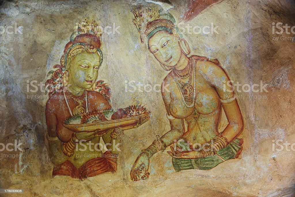 world famous frescos of ladies in Sigiriya royalty-free stock photo