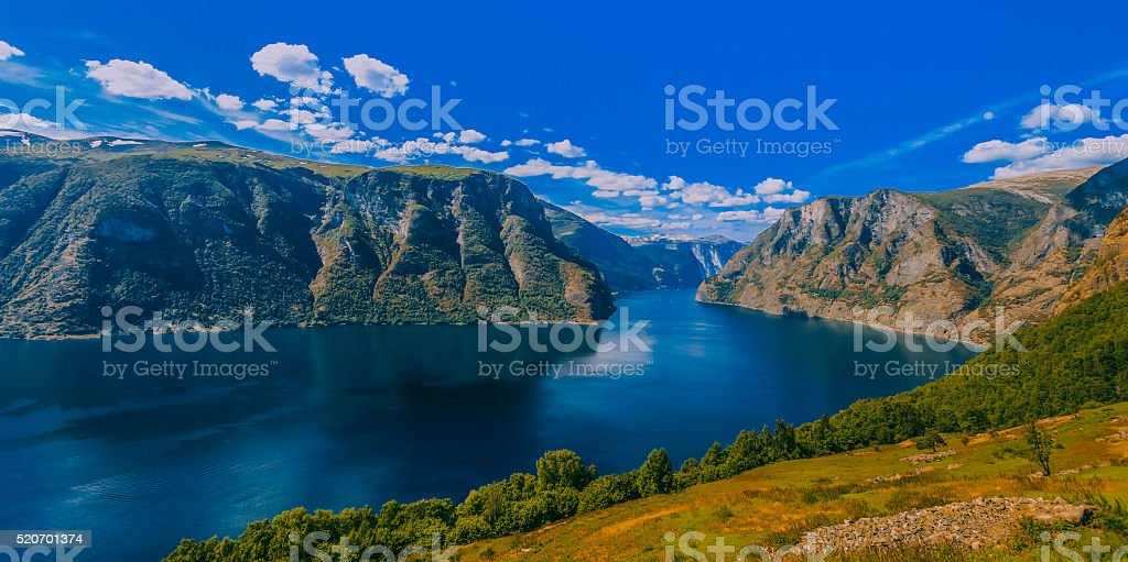 World Famous Geiranger Fjords of Norway stock photo