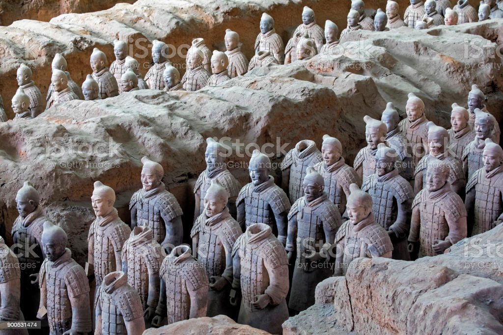 World famous Terracotta Army located in Xian China stock photo