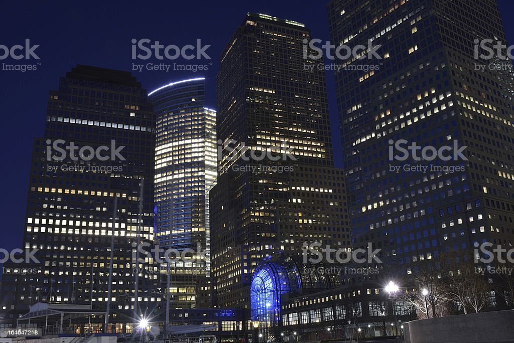 World Financial Center at Night stock photo