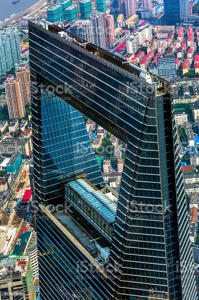 World Financial Center Skyscraper Liujiashui Shanghai China stock photo