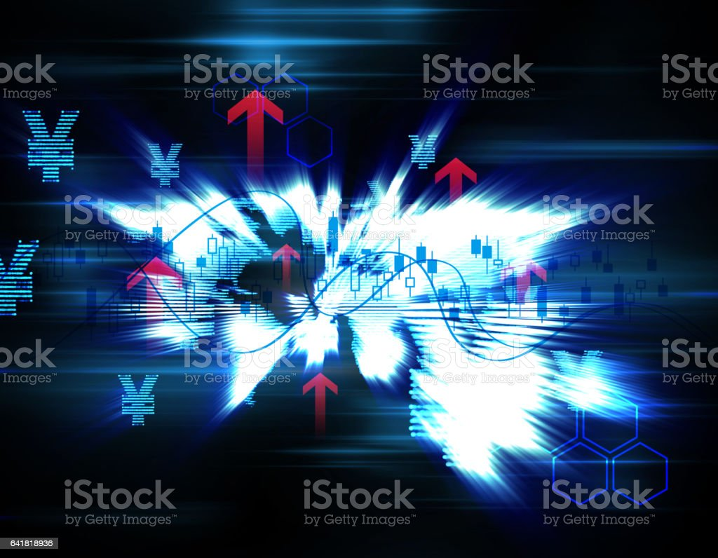World financial city stock market data, economic upgrading stock photo