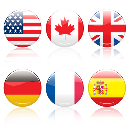 6 world flag pins with path, each approx. 5