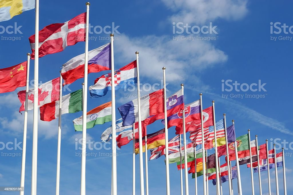 World Flags Blowing In The Wind stock photo