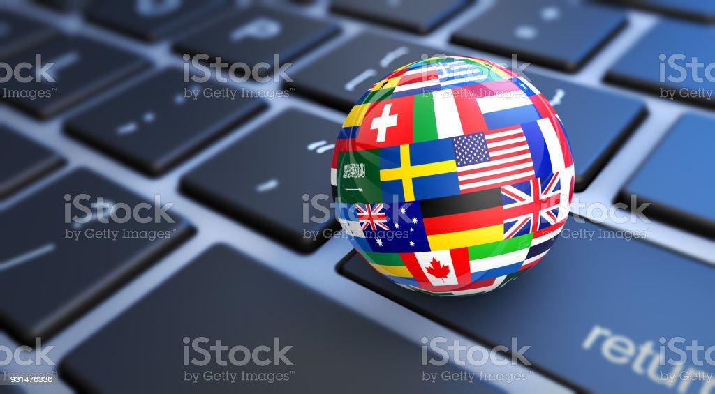 Mundo banderas mundo teclado - foto de stock