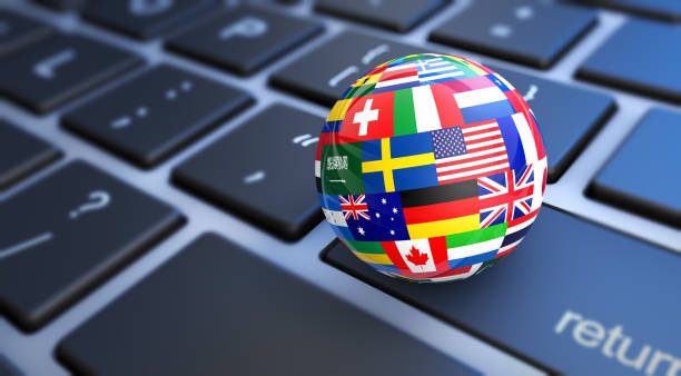 World Flags Globe Computer Keyboard International business concept with a computer keyboard and world flags on a globe 3D illustration. global village stock pictures, royalty-free photos & images