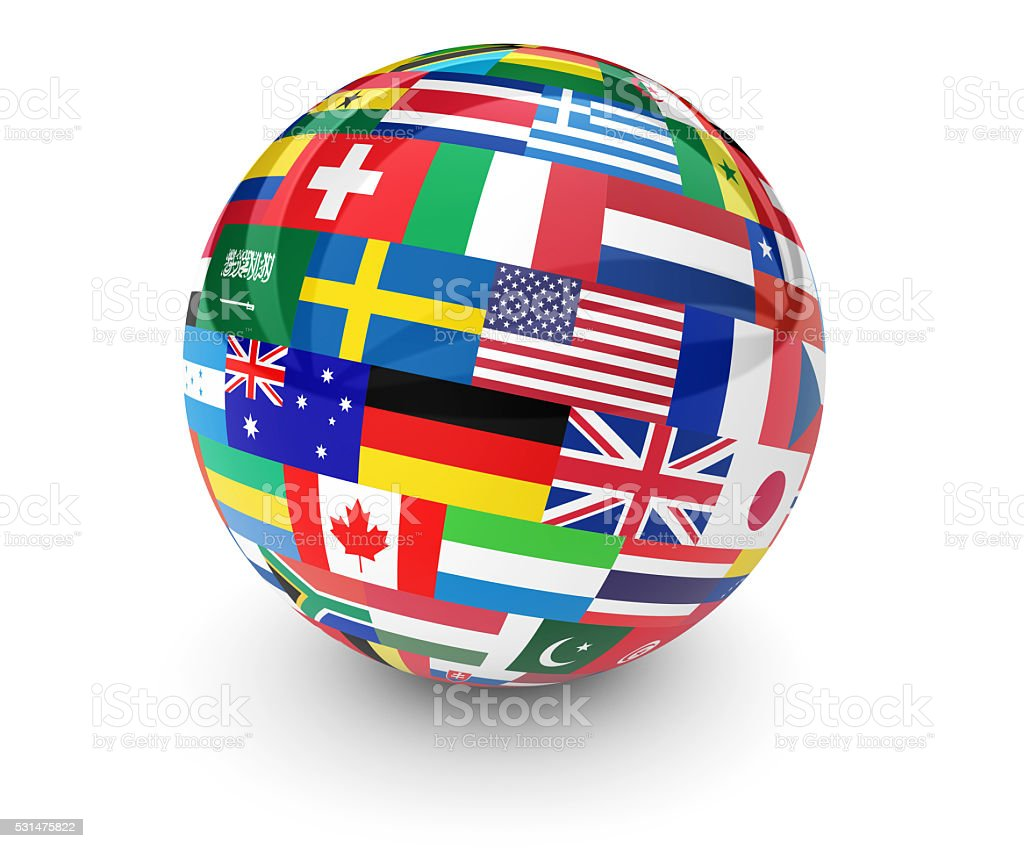 World Flags International Business Globe stock photo
