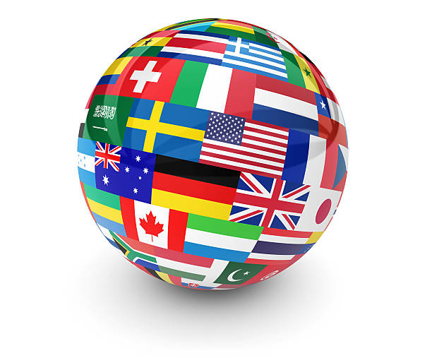 World Flags International Business Globe Flags of the world on a globe for international business, school, travel services and global management concept 3d illustration on white background. national flag stock pictures, royalty-free photos & images