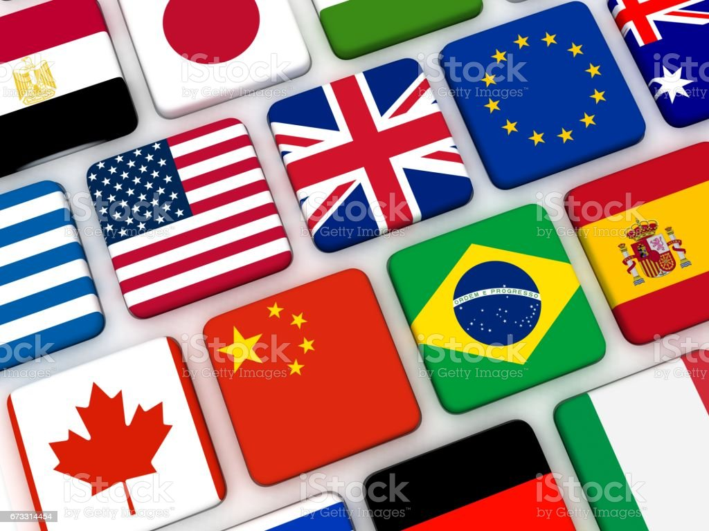 World flags keyboard internet travel stock photo