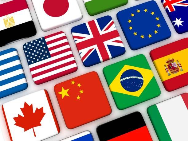 World flags keyboard internet travel World flags keyboard internet travel global village stock pictures, royalty-free photos & images