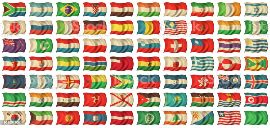 World Flags on Fabric Texture - set 2 of 2 stock photo