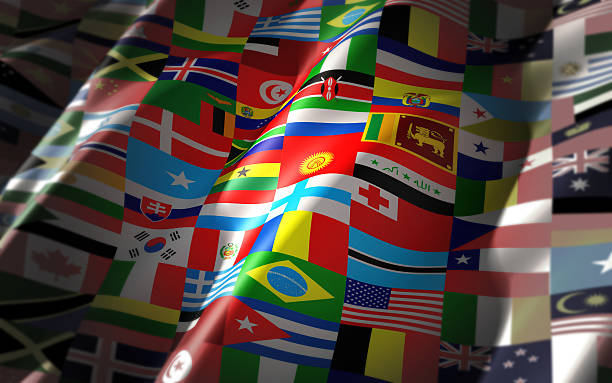Mundo banderas en un colorido bandera - foto de stock