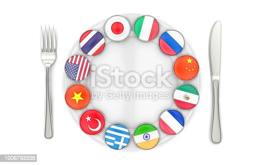 istock World fusion cuisine on the plate with fork and knife 1006793338