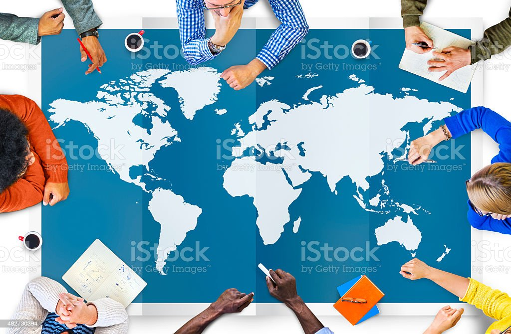 World Global Business Cartography Globalization International Co World Global Business Cartography Globalization International Concept 2015 Stock Photo