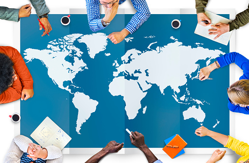 World Global Business Cartography Globalization International Co Stock Photo - Download Image Now