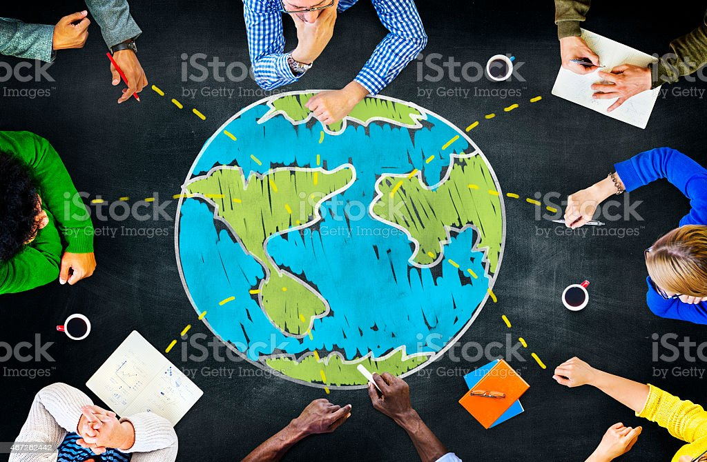 World Global Ecology International Meeting Unity Learning Concep stock photo