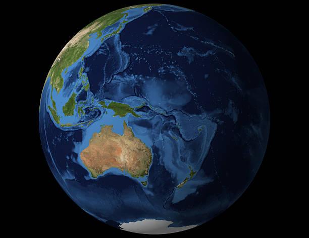 World globe view from Australia and New Zealand stock photo