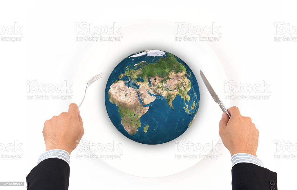 World globe ball with fork and knife stock photo