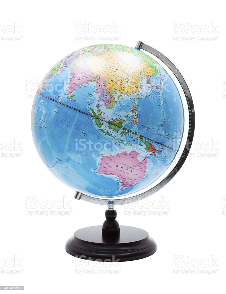 World Globe (Clipping path) isolated on white background stock photo
