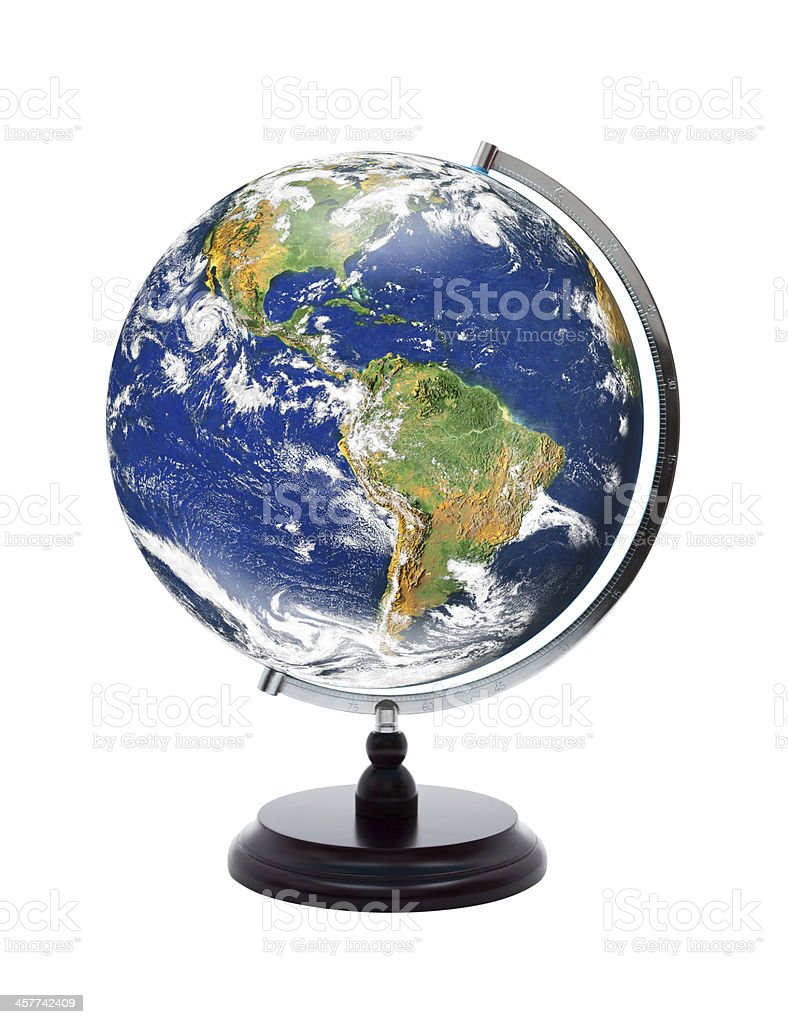 World Globe (Clipping path) isolated on white stock photo