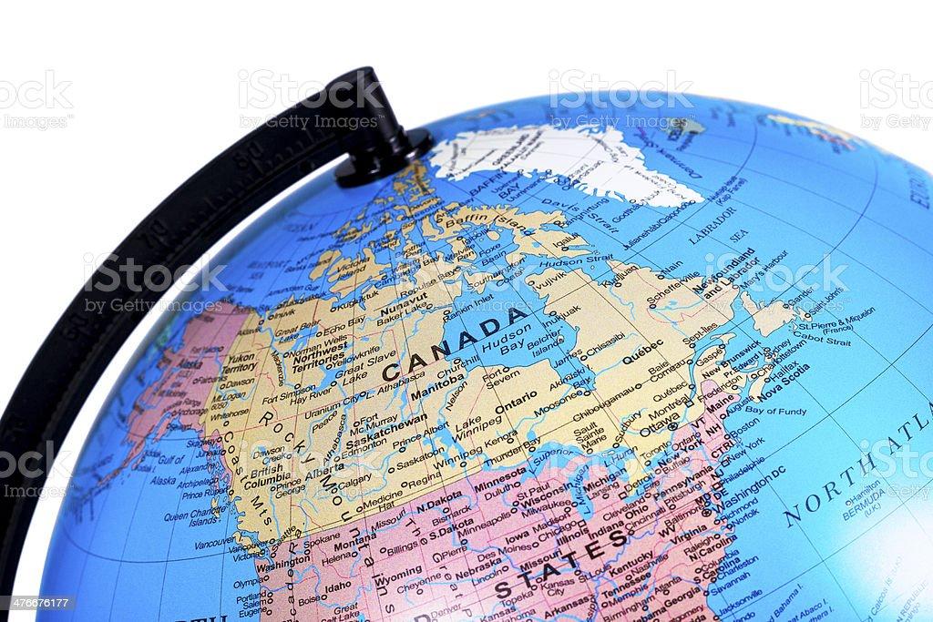 World Globe on Canada royalty-free stock photo